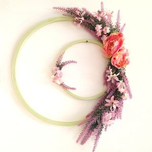 Double Hoop Floral Wreath Purple & Pink Wall Decor